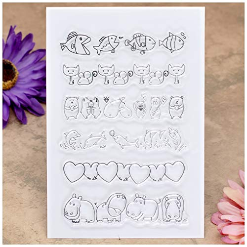 Kwan Crafts Fish Cat Mouse Dolphin Heart Clear Stamps for Card Making Decoration and DIY Scrapbooking