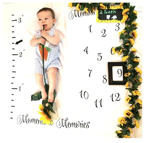 Price comparison product image Monthly Milestone Blanket for Babies / First Year Growth Tracker / Photo Backdrop Prop for Newborn,  Infant Toddler / 40x40 inches / Ideal Girl Boy / Create Moments to Memories