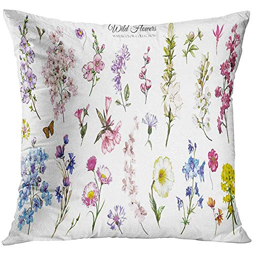 - Throw Pillow Cover Blue Vintage Big Watercolor Wild Flowers Herbs Collection Meadow Branches White Botanic Green Bouquet Decorative Pillow Case Home Decor Square 18x18 Inches Pillowcase