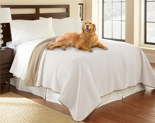 "100% Waterproof Mambe Furniture Cover for Pets and People (King/Queen 90""x90"", Buff-Camel)"