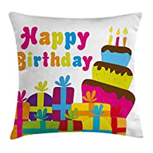 Birthday Decorations Throw Pillow Cushion Cover by Ambesonne, Cute Cartoon Style Lettering Celebration Surprise Boxes Yummy Cake, Decorative Square Accent Pillow Case, 16 X 16 Inches, Multicolor