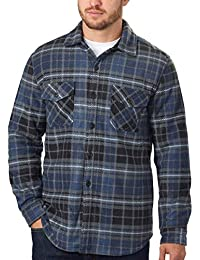 Men's Plaid Fleece Jackets Super Plush Sherpa Lined Jacket Shirt