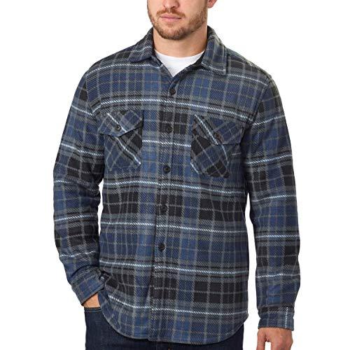 Men's Plaid Super Plush Jacket Shirt (Blue, Large)