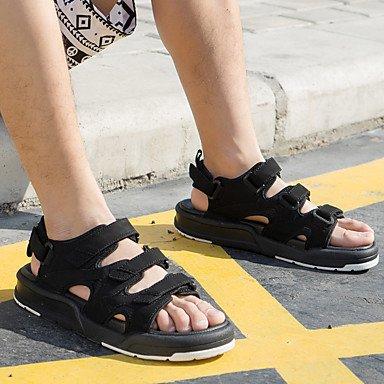Sandalias de verano Unisex Mary Jane PU casual al aire libre talón plano gris rojo negro blanco Black