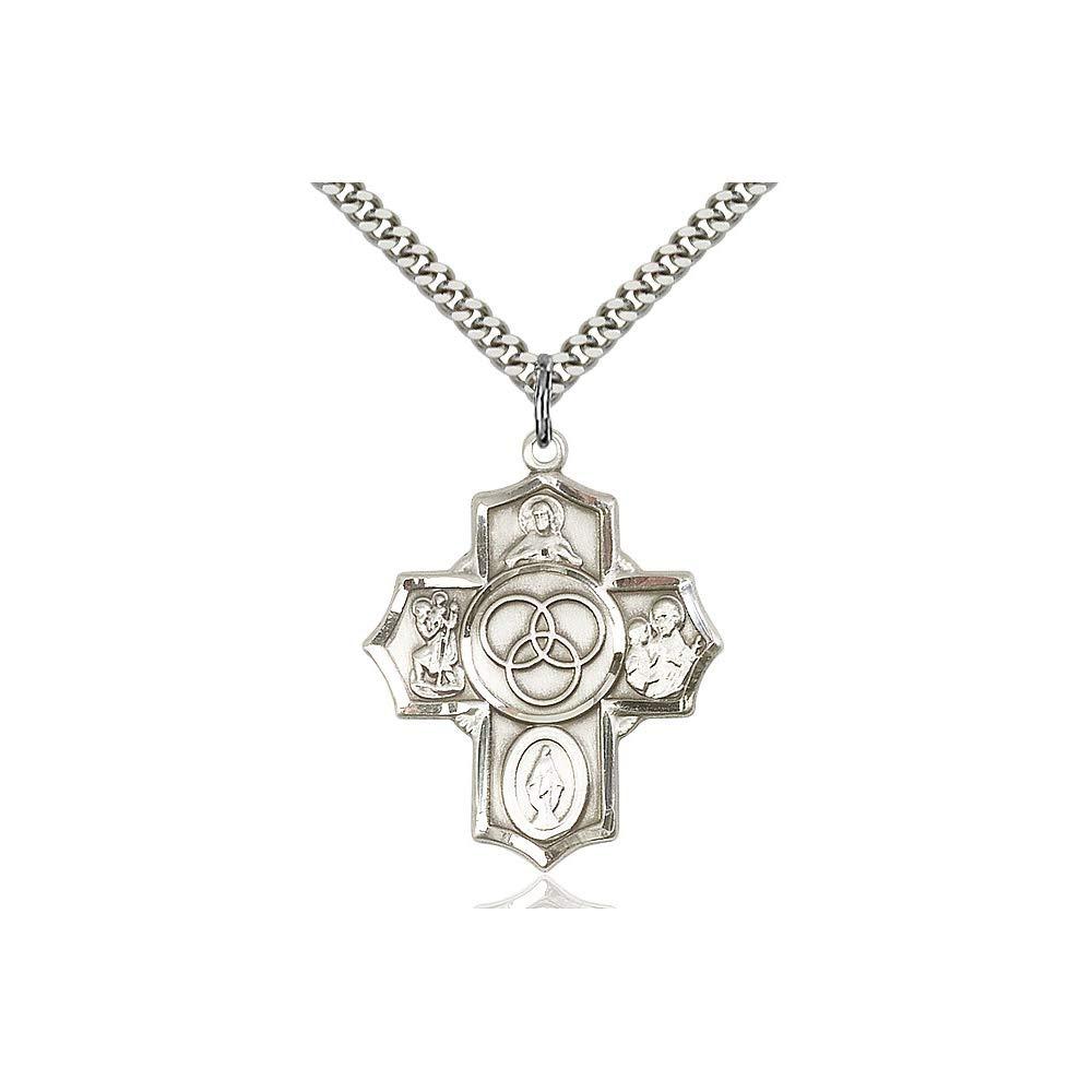DiamondJewelryNY Sterling Silver Blended Family 5-Way Pendant