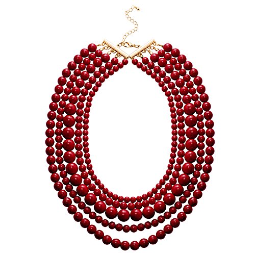 Jane Stone Statement Red Turquoise Collar Necklace Multi-layered Fashion Chunky Long Beads Beaded Jewelry for (Layered Stone)