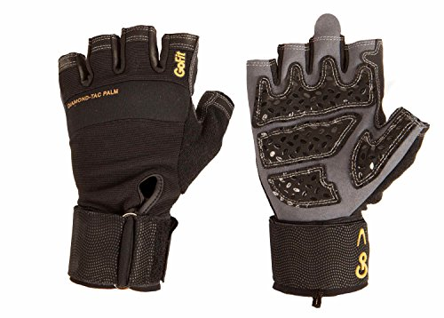 Gofit Adjustable Hand Grip - GoFit Diamond-Tac Wrist Wrap Glove - Padded, Flexible, Supportive Fitness Glove and Training CD - Large