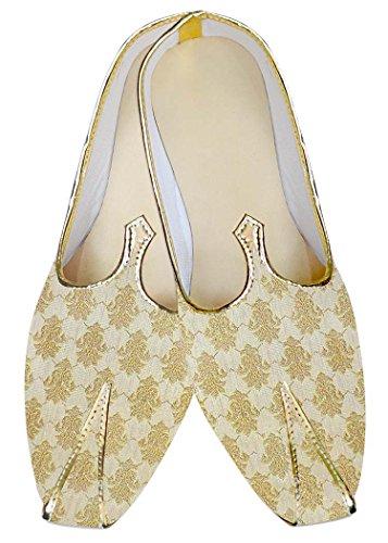 INMONARCH Luz Hombres Boda Zapatos Artesanal de Oro MJ014045