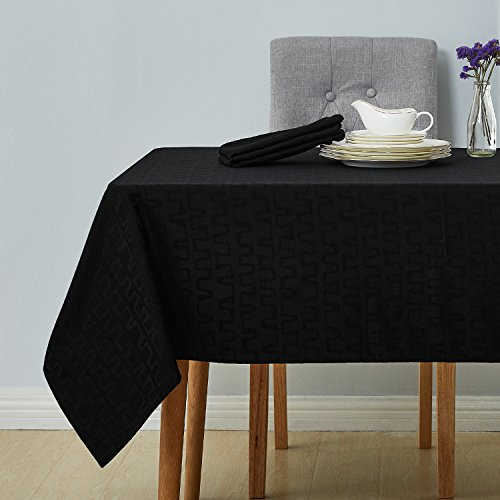 Deconovo Decorative Jacquard Tablecloth Wrinkle and Water Resistant Spill-Proof Rectangle Tablecloths Bar Graph Print for Kitchen 54 x 72 inch Black