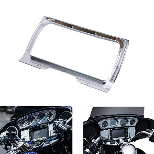 (Jade Onlines Motorcycle Dash Panel Insert Tri-Line Stereo Chrome Trim Cover for Harley Davidson Touring Electra Glide Ultra Limited)