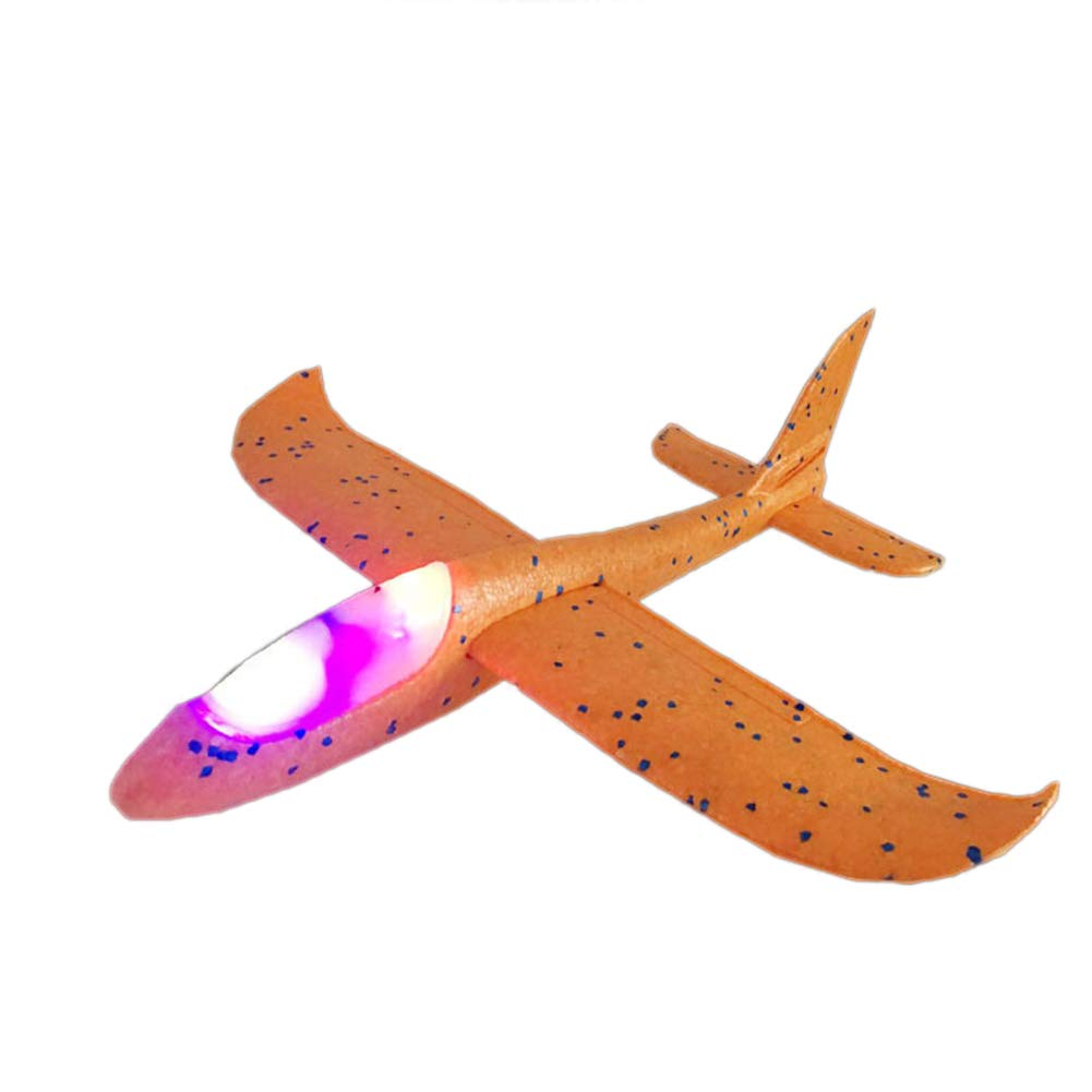 bromrefulgenc Aircraft Toy,Colorful Manual Airplane Aircraft Toy with Light Throwing Hand Glider Gift for Kids Yellow