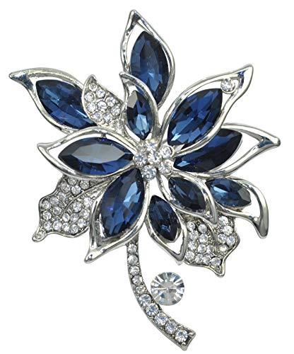 Gyn&Joy Sapphire Blue Colored Crystal Rhinestone Autumn Maple Leaf Multi Layer Flower Brooch Pin BZ201