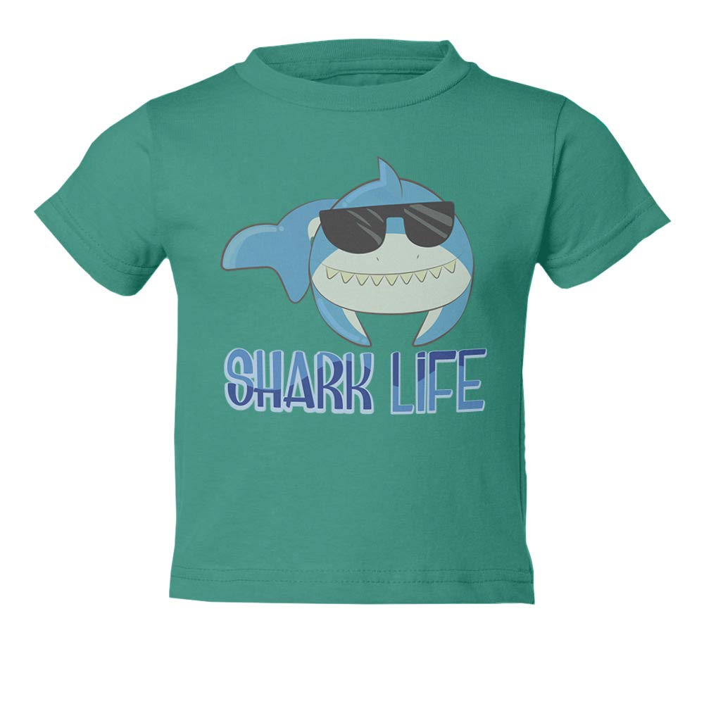Cool Shark Shark Sunglasses Youth & Toddler Tee Shirt (Green,2T) by Societee