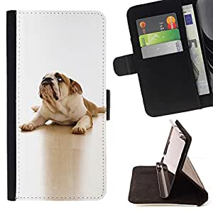 Momo Phone Case / Flip Funda de Cuero Case Cover - Inglés British Bulldog Dog Canine Blanca; - HTC One Mini 2 M8 MINI