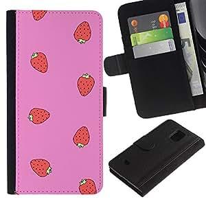 Billetera de Cuero Caso Titular de la tarjeta Carcasa Funda para Samsung Galaxy S5 Mini, SM-G800, NOT S5 REGULAR! / strawberry red pink pattern summer / STRONG