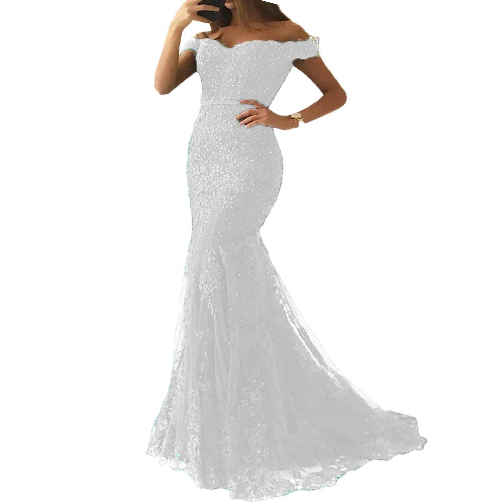 White Liaoye Women's Off Shoulder Lace Mermaid Prom Dresses Long Formal Beaded Evening Gown