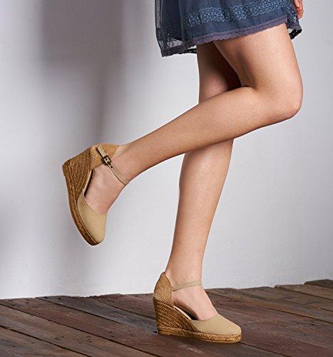 in Viscata Heel Closed Classic Satuna strap Spain 6 7 Beige Made toe nbsp;cm cuneo ankle Espadrilles qSnq1wOr