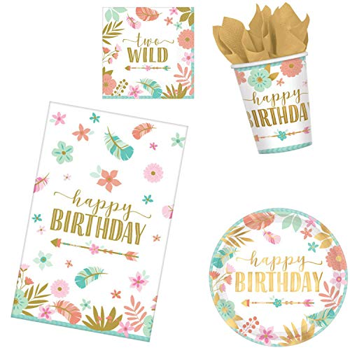 BOHO 2nd Birthday Party Supplies Pack for 16 Guests | Baby Girl Two Wild Theme (Basic ParteePak)]()