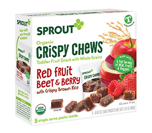Sprout Organic Crispy Chews Toddler Snacks, Red Fruit Beet & Berry, 0.63 Ounce Single Serve Packets (Box of 5) (Vegetable Fruit Snacks)
