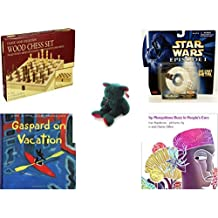 Children's Gift Bundle - Ages 6-12 [5 Piece] - Classic Wood Folding Chess Set Game - Star Wars Episode 1 Trade Federation Battleship #4 Die Cast Toy - Ty Holiday TeddyBeanie Buddy Plush - Gaspard on