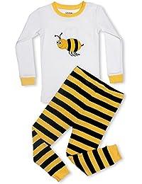 Boys Girls Moon & Stars Bumble Bee 2 Piece Pajama Set Top & Pants 100% Cotton (Toddler-14 Years)