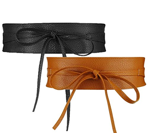 NormCorer- Womens PU Leather Obi Waist Belt - Waist Sash- For Dress | Shirts | Skirts- Easy Matching- Adjustable Length- 2 Belts (black & brown) (27 Inch Skirt)