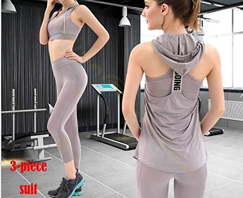 SGYHPL Sommer Frauen Gym Sport Weste Ärmelloses Shirt Fitness Laufbekleidung Tanktops Workout Yoga Unterhemden Quick Dry Tuniken L 3-Teiliger Anzug Grau