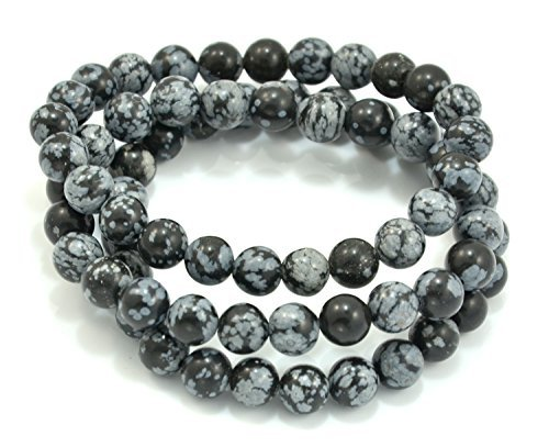 (Paialco 6mm Snowflake Obsidian Gemstone Stretch Beaded Bracelet, Pack of 3 )