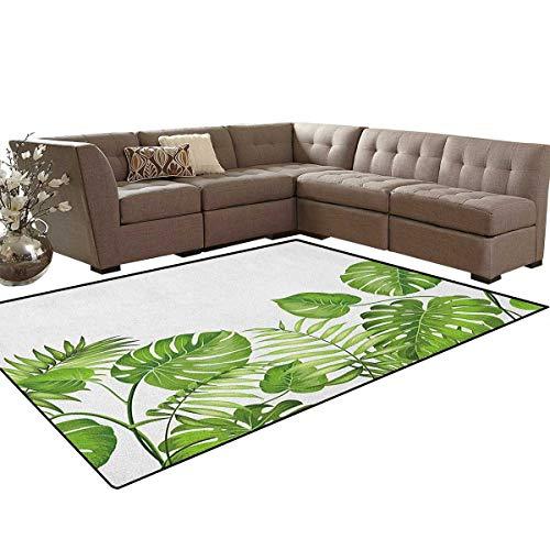 (Leaf,Carpet,Nature Jungle Forest Rainforest Inspired Leaves Plant Foliage Swirls Botanic Image,Non Slip Rug,Pale Green Size:6'6