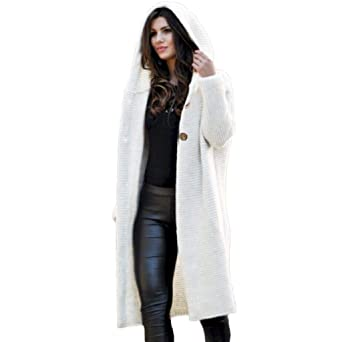 Damen Lange Cardigan Jacke Herbst Strickjacke Langarm Longshirt Mantel Pullover