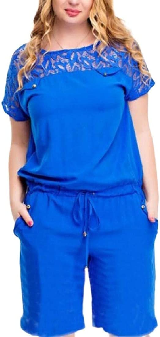 Fubotevic Womens Pockets Basic Lace Plus Size Tie Short Sleeve Romper Jumpsuits