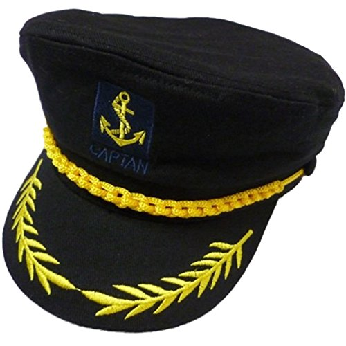 [eYourlife2012 Adult Yacht Boat Ship Captain Costume Navy Marine Admiral Hat Cap (Black)] (Adult Sailor Captain Costumes)