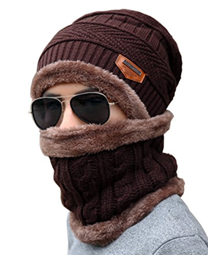Brown 27' Fleece (Unisex Beanie Skull Cap Hat Scarf Set Fleece Lining Knitted Winter Warm Thick Knit Slouchy Snowboarding (Brown))
