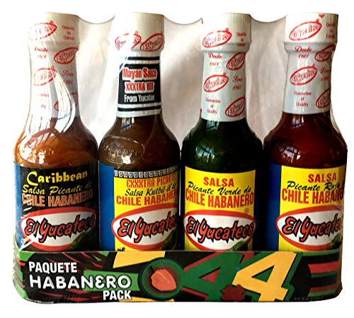 El Yucateco 4 Habanero Hot Sauces Gift Pack, 4 Items