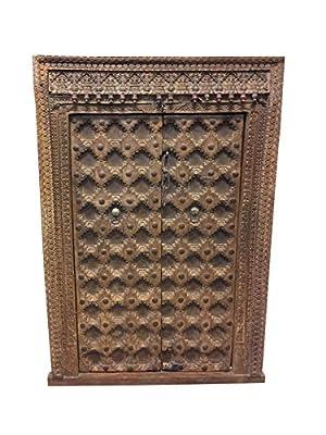 Delicieux Amazon.com: Mogulinterior Antique Indian Floral Carved Window Frame Double  Door Panels Wooden Jharokha Haveli Design Decor: Kitchen U0026 Dining