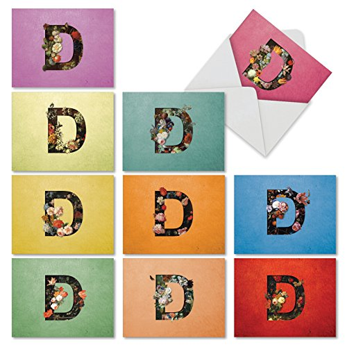 """10 'Baroque Blooms D' Note Cards with Envelopes (Mini 4"""" x 5 ¼""""), Letter D All Occasion Blank Greeting Cards, Assorted Stationery Set for Weddings, Baby Showers, Birthdays, Sympathy #M3850OCB-B1x10 (Personalized Cards Note Letters)"""