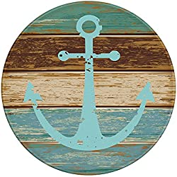 LEEVAN Modern Non-Slip Backing Machine Washable Round Area Rug Foam Mat Living Room Bedroom Study Super Soft Carpet Floor Mat Home Decor 3-Feet Diameter, Vintage Retro Nautical Anchor
