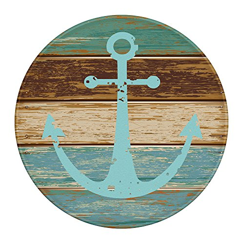 LEEVAN Modern Non-Slip Backing Machine Washable Round Area Rug Living Room Bedroom Study Super Soft Carpet Floor Mat Home Decor 4-Feet Diameter, Vintage Retro Nautical Anchor