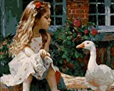 YEESAM ART Paint by Number Kits for Adults Kids - The Little Girl and Duck 16x20 inch Linen Canvas With Wooden Frame