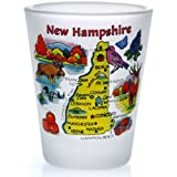New Hampshire Map Frosted Shot Glass