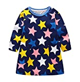 Suma-ma (24M-7T) Children's Baby Girl Casual Cartoon Long Sleeves Printed Star Spring Autumn Navy Dress.Cotton Lovely Dress