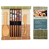 Bamboo Sushi Making Kit for Beginner Included 2 Rolling Mats - 1 Rice Paddle - 1 Rice Spreader and 5 Pairs Chopsticks by TOSSOW, 100% Natural Bamboo Sushi Mats and Utensils