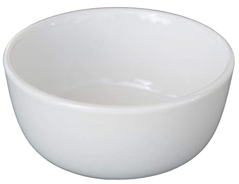 Cameo China White Ivory Ceramic Nappy Rice Bowls and Pan Scraper, 4.5 Inch, 10