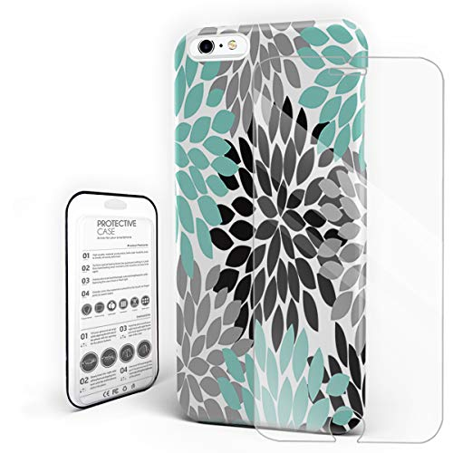 YEHO Art Gallery Christmas Phone Case Protective Design Hard Back Case,Colorful Dahlias Flower Pattern Grey and Green,Phone Covers with Screen Protector for Girls Boys,iPhone 6p/6sp