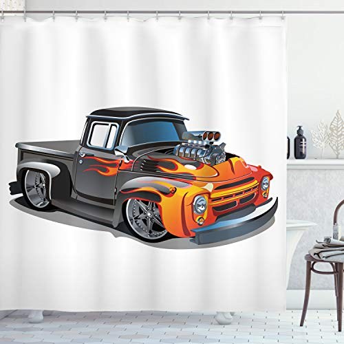 Ambesonne Manly Decor Collection, Cartoon Hot Rod Car Truck Antique Old Model Automobile Transport Nostalgia Image, Polyester Fabric Bathroom Shower Curtain Set with Hooks, Orange Grey