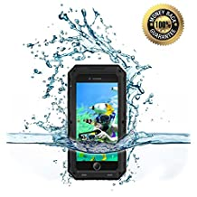 iPhone 5/5S/SE Water Proof Case, Hankuke Full Body Protective Metal Shell with Inner Soft Rubber Layer Bumper Build with Screen Film Designed for Under Water Photograph and Active Sport - Black