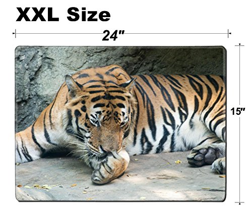 - Luxlady Extra Large Mouse Pad XXL Extended Non-Slip Rubber Gaming Mousepad 24x15 Inch, 3mm thick Stitched Edge Desk Mat IMAGE ID: 34651384 Close up a Bengal Tiger