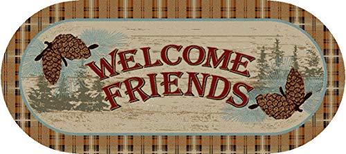Dean Washable Non-Slip Welcome Friends Pine Cone Natural Cabin Mountain Kitchen Bath Door Entrance Mat/Rug 20
