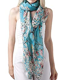 Women's Floral Birds Print Long Scarf Shawl and Wrap by MissShorthair