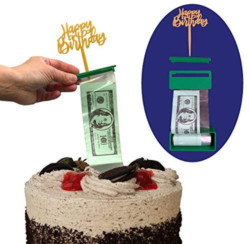 Cake Money Pull Out Kit, Money Cake Dispenser Box, Surprise Box, 100 Plastic Pockets in Money Cake Set, Graduation and Birthday Special Accessory ()